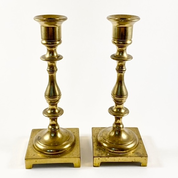 Pair of vintage brass candlestick holders